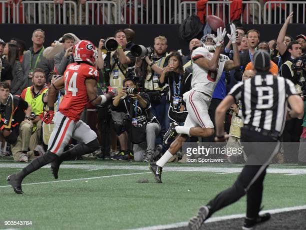 Alabama Crimson Tide wide receiver DeVonta Smith makes the game winning touchdown catch during the College Football Playoff National Championship...
