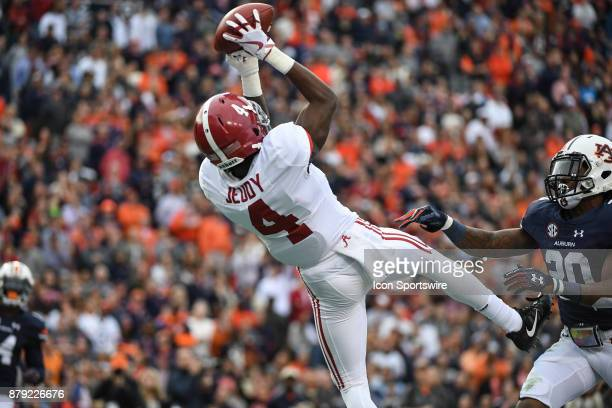 Alabama Crimson Tide wide receiver Jerry Jeudy catches a pass for a touchdown during the second quarter of a football game between the Auburn Tigers...