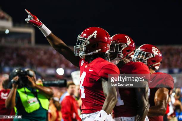 Alabama Crimson Tide wide receiver Jerry Jeudy celebrates after scoring a touchdown during the football game between the Alabama Crimson Tide and the...