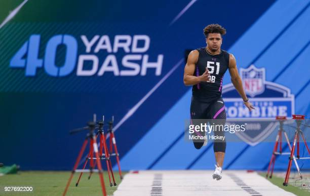 Alabama defensive back Minkah Fitzpatrick runs the 40 yard dash during the NFL Scouting Combine at Lucas Oil Stadium on March 5 2018 in Indianapolis...