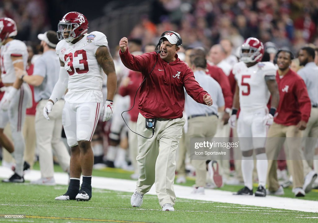 Alabama defensive coordinator Jeremy Pruitt celebrates during the College Football Playoff Semifinal at the Allstate Sugar Bowl between the Alabama Crimson Tide and Clemson Tigers on January 1, 2018, at the Mercedes-Benz Superdome in New Orleans, LA.