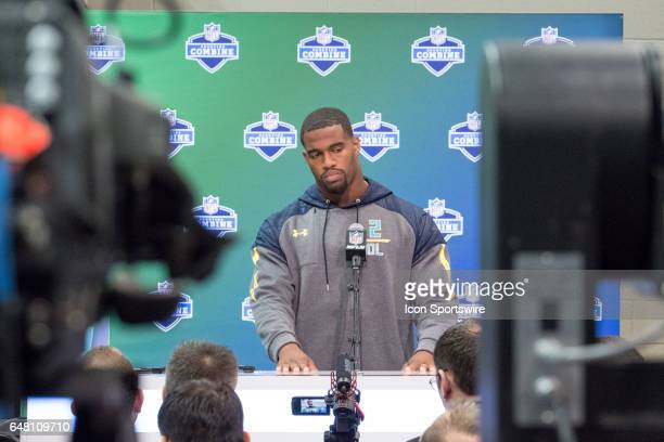 Alabama defensive end Jonathan Allen answers questions from members of the media during the NFL Scouting Combine on March 4 2017 at Lucas Oil Stadium...