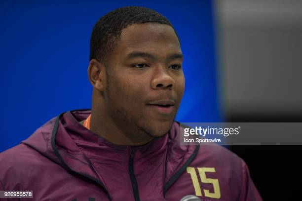 Alabama defensive lineman Da'Ron Payne answers questions from the media during the NFL Scouting Combine on March 3 2018 at the Indiana Convention...