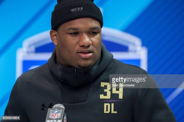 Alabama defensive lineman Da'Shawn Hand answers questions from the media during the NFL Scouting Combine on March 3 2018 at the Indiana Convention...