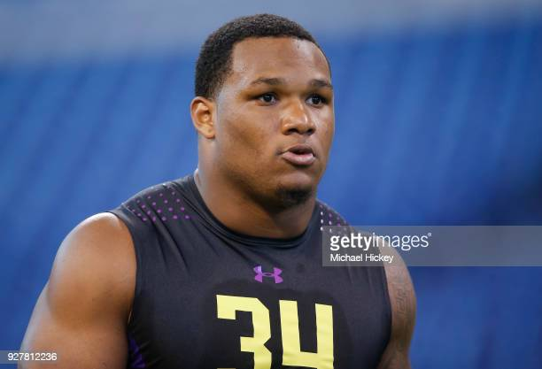 Alabama defensive lineman Da'shawn Hand is seen during the NFL Scouting Combine at Lucas Oil Stadium on March 2018 in Indianapolis Indiana