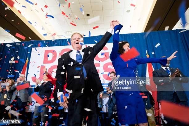 Alabama Democrat Doug Jones celebrates his victory over Judge Roy Moore at the Sheraton in Birmingham Ala on Tuesday Dec 12 2017 Jones faced off...