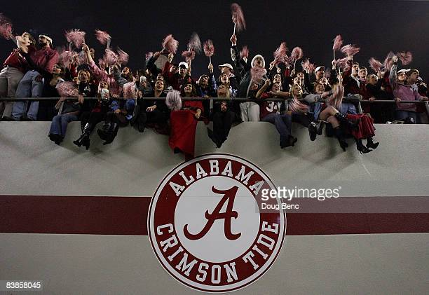 Alabama fans cheer after the Alabama Crimson Tide defeat the Auburn Tigers at BryantDenny Stadium on November 29 2008 in Tuscaloosa Alabama Alabama...