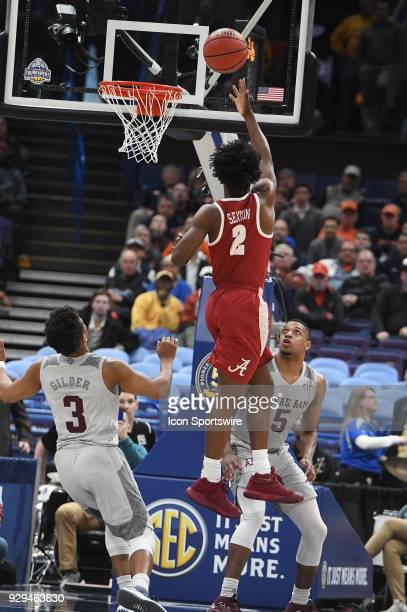 Alabama guard Collin Sexton puts up the winning shot during a Southeastern Conference Basketball Tournament game between Alabama and Texas AM on...