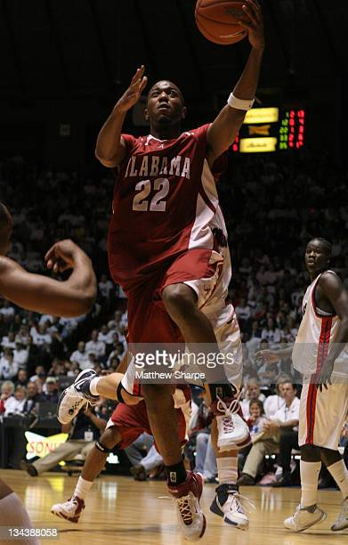 Alabama guard Ronald Steele drives down the lane against Ole Miss at the Tad Smith Coliseum in Oxford Mississippi on Saturday February 10 2007 Ole...