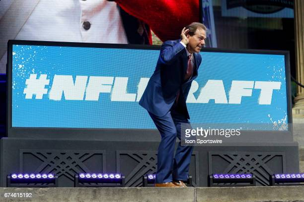 Alabama head coach Nick Sabin listens to the boos from the fans after being introduced at the NFL Draft Theater on April 27 2017 in Philadelphia PA