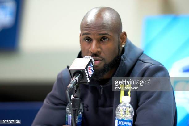 Alabama linebacker Rashaan Evans answers questions from the media during the NFL Scouting Combine on March 03 2018 at Lucas Oil Stadium in...