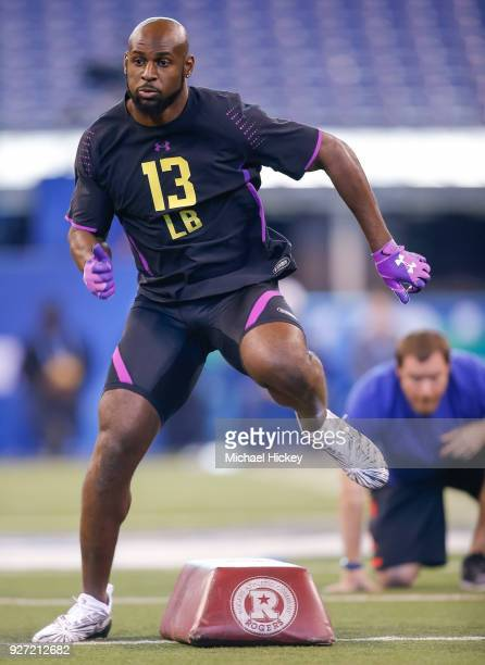 Alabama linebacker Rashaan Evans runs thru a drill during the NFL Scouting Combine at Lucas Oil Stadium on March 4 2018 in Indianapolis Indiana