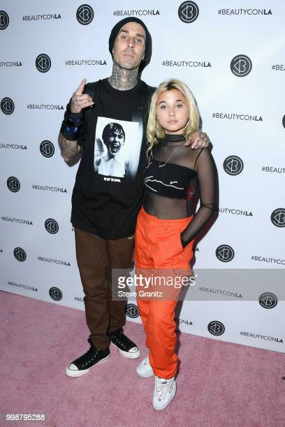 Alabama Luella Barker and Travis Barker attend the Beautycon Festival LA 2018 at the Los Angeles Convention Center on July 14 2018 in Los Angeles...