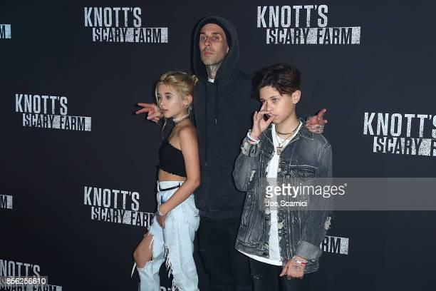 Alabama Luella Barker Travis Barker and Landon Asher Barker arrive at Knott's Scary Farm and Instagram's Celebrity Night at Knott's Berry Farm on...