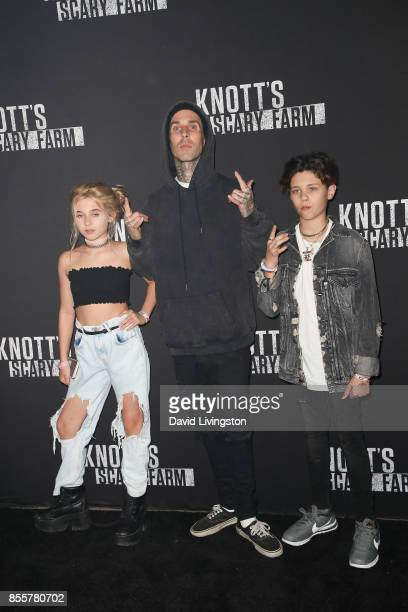 Alabama Luella Barker Travis Barker and Landon Asher Barker attend the Knott's Scary Farm and Instagram's Celebrity Night at Knott's Berry Farm on...
