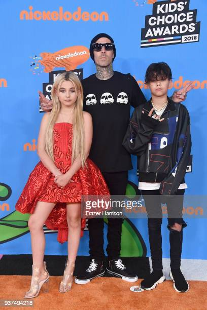 Alabama Luella Barker Travis Barker and Landon Asher Barker attend Nickelodeon's 2018 Kids' Choice Awards at The Forum on March 24 2018 in Inglewood...