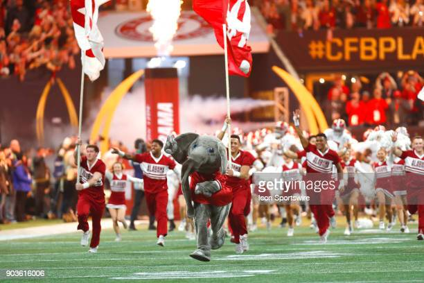 Alabama mascot Big Al leads the Tide onto the field prior to the College Football Playoff National Championship Game between the Alabama Crimson Tide...