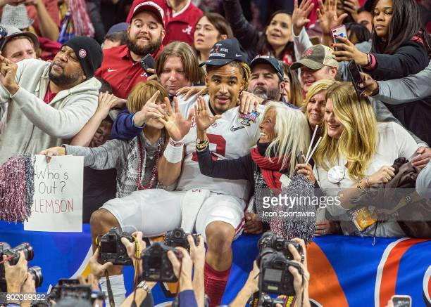 Alabama players celebrate after a victory at the Allstate Sugar Bowl between the Alabama Crimson Tide and the Clemson Tigers at the Mercede-Benz...