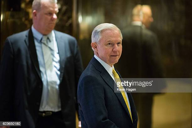 Alabama Senator Jeff Sessions arrives at Trump Tower on November 16 2016 in New York City Trump is working on his his presidential cabinet as he...