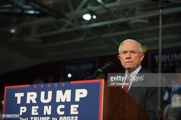 Alabama Senator Jeff Sessions pledges his commitment to Republican candidate for President Donald J Trump before he speaks to supporters at a rally...