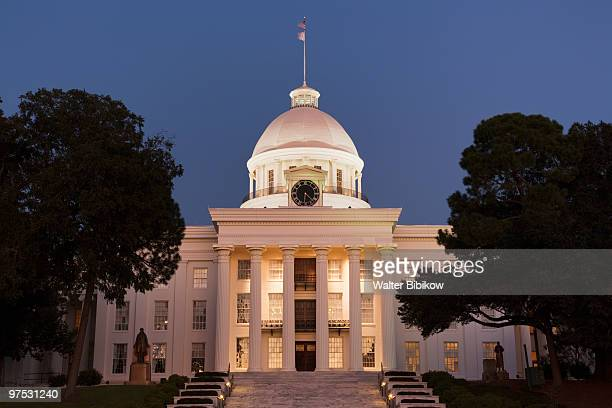 alabama state capitol, dusk - montgomery alabama stock pictures, royalty-free photos & images