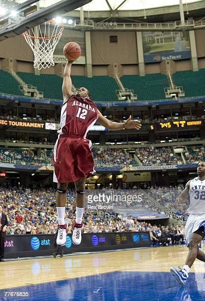 Alabama's Alonzo Gee breaks away for a dunk during the second half of the SEC Tournament match between Alabama and Kentucky at the Georgia Dome in...