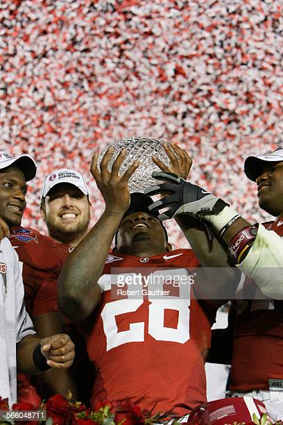 Alabama's Javier Arenas celebrates the Crimson Tide's victory over Texas to win the BCS Championship game Thursday night. The Texas Longhorns play...