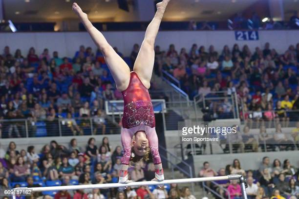 Alabama's Keely McNeer on the uneven bars during the finals of the NCAA Women's Gymnastics National Championship on April 15 at Chaifetz Arena in St...