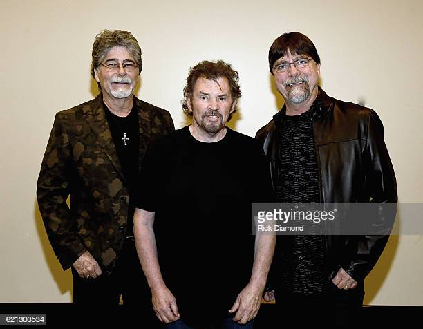 Alabama's Randy Owen Jeff Cook and Teddy Gentry backstage during The Country Music Hall of Fame and Museum Presents an Interview with Alabama at The...