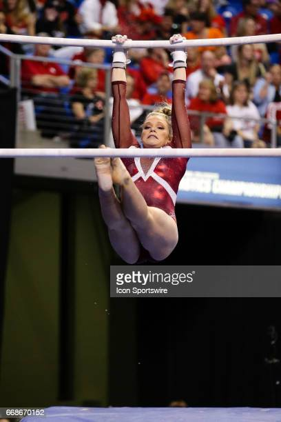 Alabamas Shea Mahoney performs on the uneven parallel bars during the NCAA Gymnastics Women's National Championship Semifinal 2 on April 14 at...