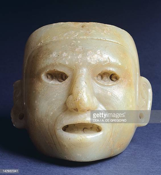 Alabaster anthropomorphic mask from Tempio Mayor in Tenochtitlan Mexico Aztec Civilization 15th Century Mexico City Museo Nacional De Antropología