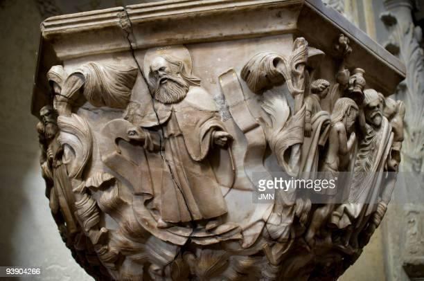 Alabaster baptismal font 15th century in the Cathedral of Avila Autonomous Community of CastileLeon Spain April 2008
