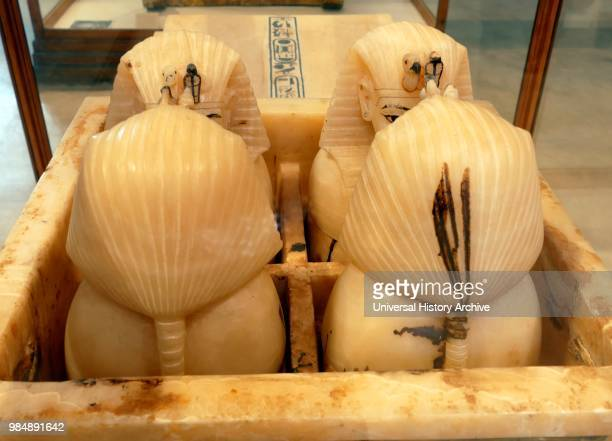 Alabaster Canopic chest with canopic jars. Found in Tutankhamen's Tomb. They were used to contain the internal organs removed during the process of...
