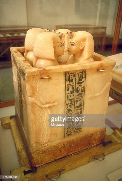 Alabaster canopic jars used to store the internal organs of the mummy of Tut Ankh Amon From the treasures found in his tomb in the Valley of Kings On...
