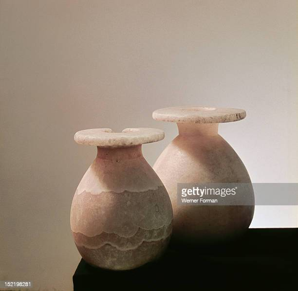 Alabaster jars for storing eye paint Inventory nos 1391 1397 Egypt Ancient Egyptian New Kingdom c 1500 BC