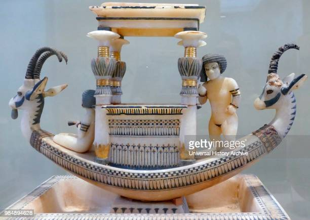 Alabaster model of Funerary Boat from tomb of Tutankhamen From the tomb of King Tutankhamen 1323 BC 18th dynasty New Kingdom