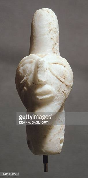 Alabaster statuette head from Tell Brak Syria Assyrian civilisation 35003300 BC Aleppo Archaeological Museum
