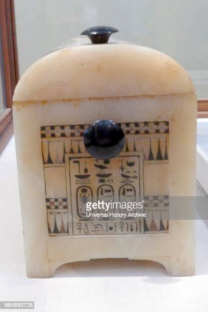 alabaster wedding casket from the tomb of King Tutankhamen Carved from a single block of calcite engraved with the cartouches of both the pharaoh and...