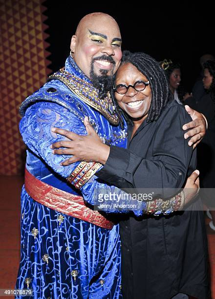 'Aladdin' star James Monroe Iglehart and Whoopi Goldberg backstage at the New Amsterdam Theatre on May 15 2014 in New York City