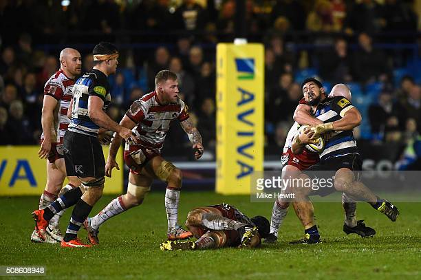 Alafoti Faosiliva of Bath is tackled during the Aviva Premiership match between Bath and Gloucester at the Recreation Ground on February 5 2016 in...