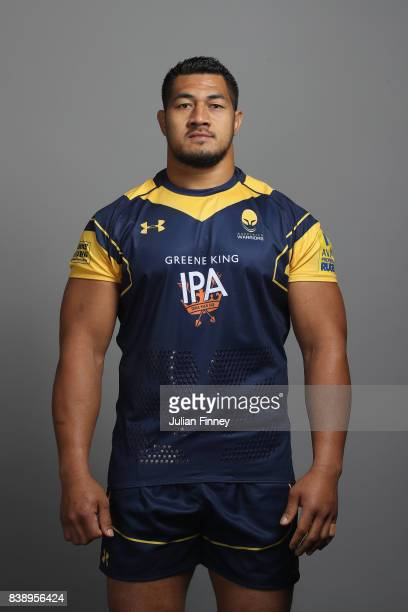 Alafoti Faosiliva of Worcester poses for a portrait during the Worcester Warriors Photocall for the 20172018 Aviva Premiership Rugby season at...