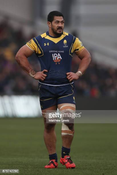 Alafoti Faosiliva of Worcester Warriors in action during the Aviva Premiership match between Worcester Warriors and Northampton Saints at Sixways...