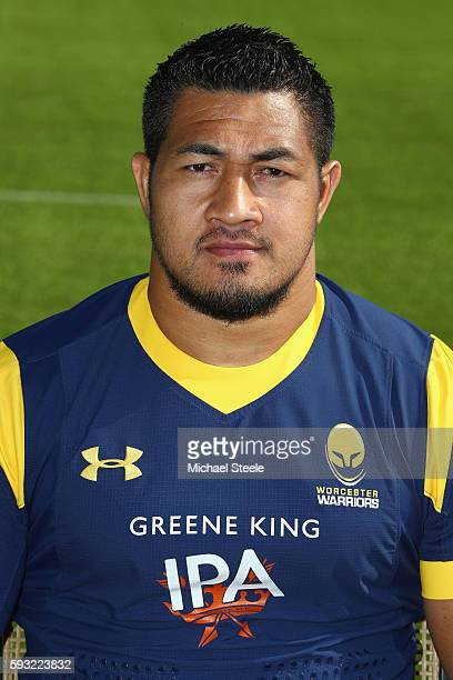 Alafoti Faosiliva poses for a portrait during the Worcester Warriors squad photo call for the 20162017 Aviva Premiership Rugby season on August 17...