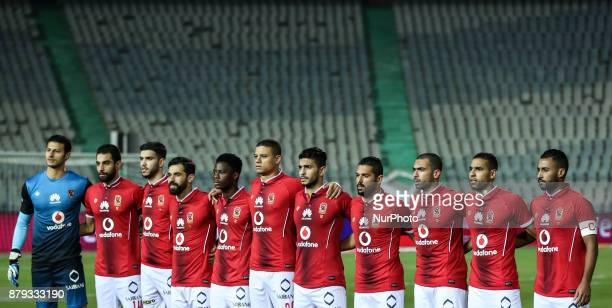 AlAhli team pose before the the Egypt Primer League Fixtures 6 Match Between AlAhly and AlDakhlia at Cairo Staduim in Cairo on November 2017 Al Ahli...