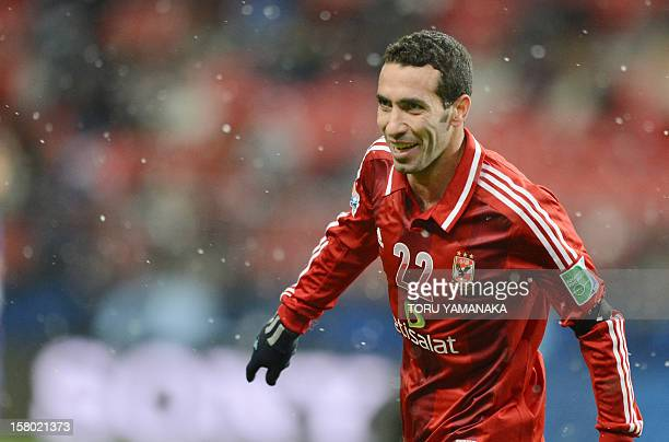 AlAhly forward Mohamed Aboutrika smiles with joy after scoring a goal against Japan's San Frecce Hiroshima during their 2012 Club World Cup...
