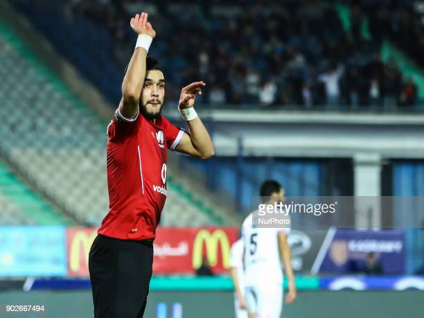 AlAhly player Walid Azaro celebrate after scoring a goal during the Egypt Premier League Fixtures 17 match between Al Ahly and Zamalek at the Cairo...