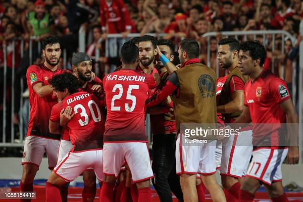 AlAhly players Celebrate after scoring a goal during their first leg of Final African Champions League CAF match Between Al Ahly and Esperance de...