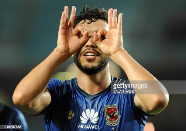 AlAhly SC's Moroccan forward Walid Azaro celebrates after scoring a goal during the CAF Champions League group A match between Tunisia's ES Tunis and...