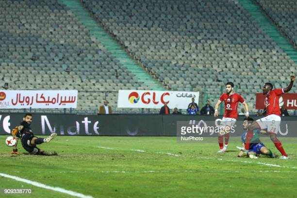 AlAhly's Ajay Jr scores a goal during the Egypt Primer League Fixtures 19 Match Between AlAhly and AlMakkas in Cairo Stadium on January 21 2018 Al...