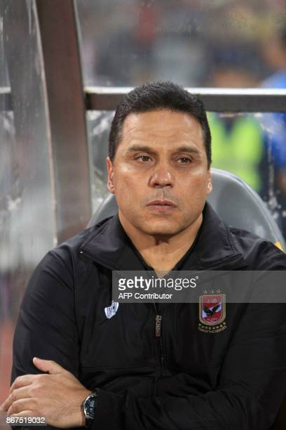 AlAhly's head coach Hossam Badry looks on during the CAF Champions League final football match between AlAhly vs Wydad Casablanca at the Borg El Arab...